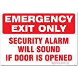"""(2 Pack) Emergency Exit Only Sign, Self Adhesive 7 X 10"""" 4 Mil Vinyl Decal - Indoor & Outdoor Use - UV Protected & Waterproof - Sleek"""