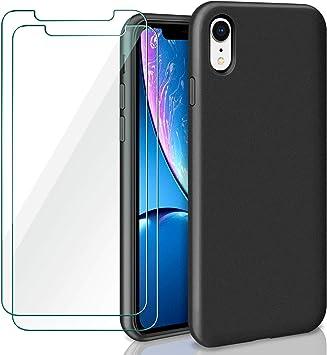 ivencase iPhone XR Funda + [2 Pack] Cristal Templado Protector Pantalla, Case Líquido de Silicona Gel para iPhone XR Slim Fit Suave con Forro de Gamuza de Microfibra Cojín (Negro): Amazon.es: Electrónica