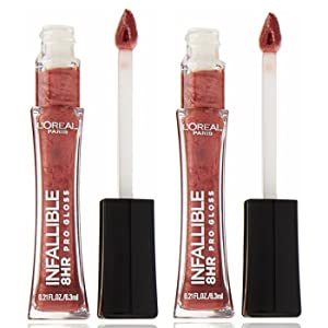 L'Oreal Infallible 8 HR Le Gloss, Modern Mauve 0.21 oz (Pack of 2)