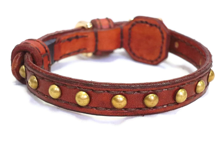 Brown leather breakaway cat collar with studs studs cat collars