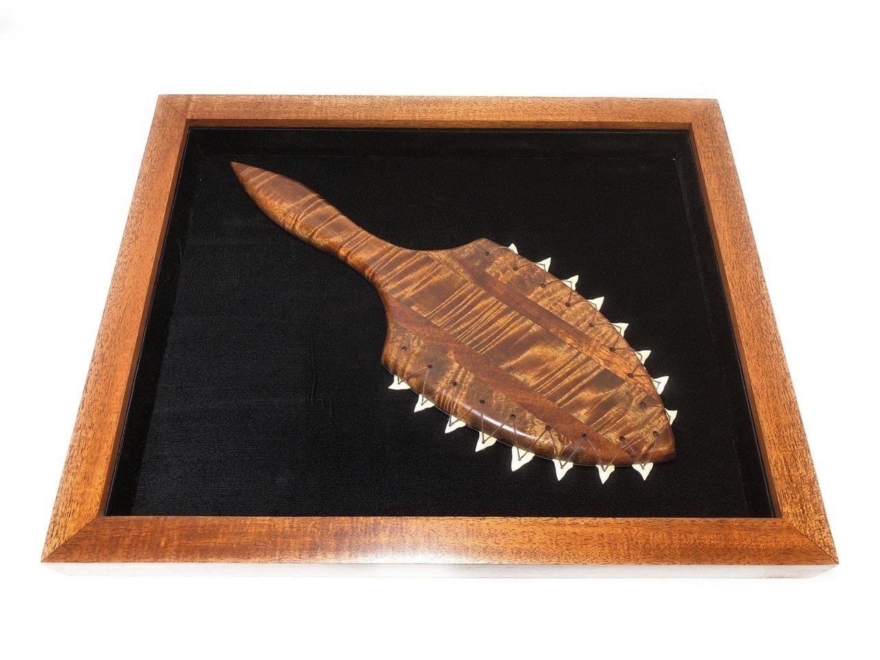 Koa Shadow box w/ Premium Lei O Mano 22''X 18'' - Black Velvet - Made In Hawaii | #koasb16