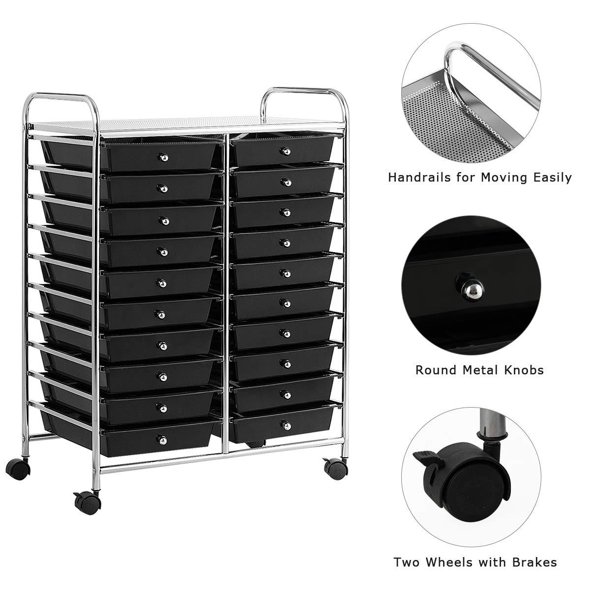 Giantex 20 Drawer Rolling Storage Cart Tools Scrapbook Paper Office School Organizer 25 x 15 x 35 Inch, Black