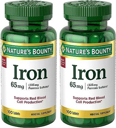 Amazon.com: Hierro 65 mg (325 mg de sulfato ferroso), 2 ...