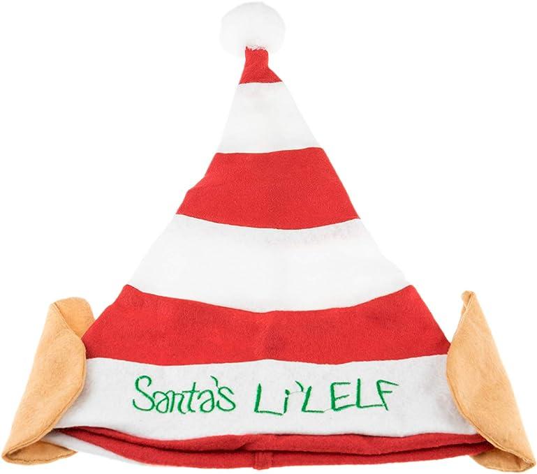 Fun Long Red Green Striped Santa Elf Hat Bendable Christmas Helper Claus Grinch