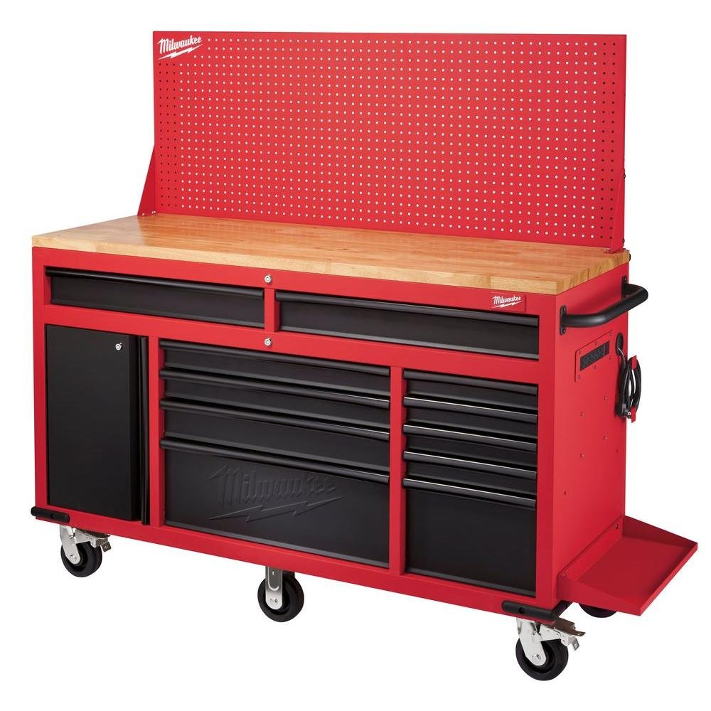Milwaukee 60 in. 11-Drawer and 1-Door 22 in. D Mobile Workbench with Adjustable-Height, Sliding Pegboard Back Wall, Red and Black
