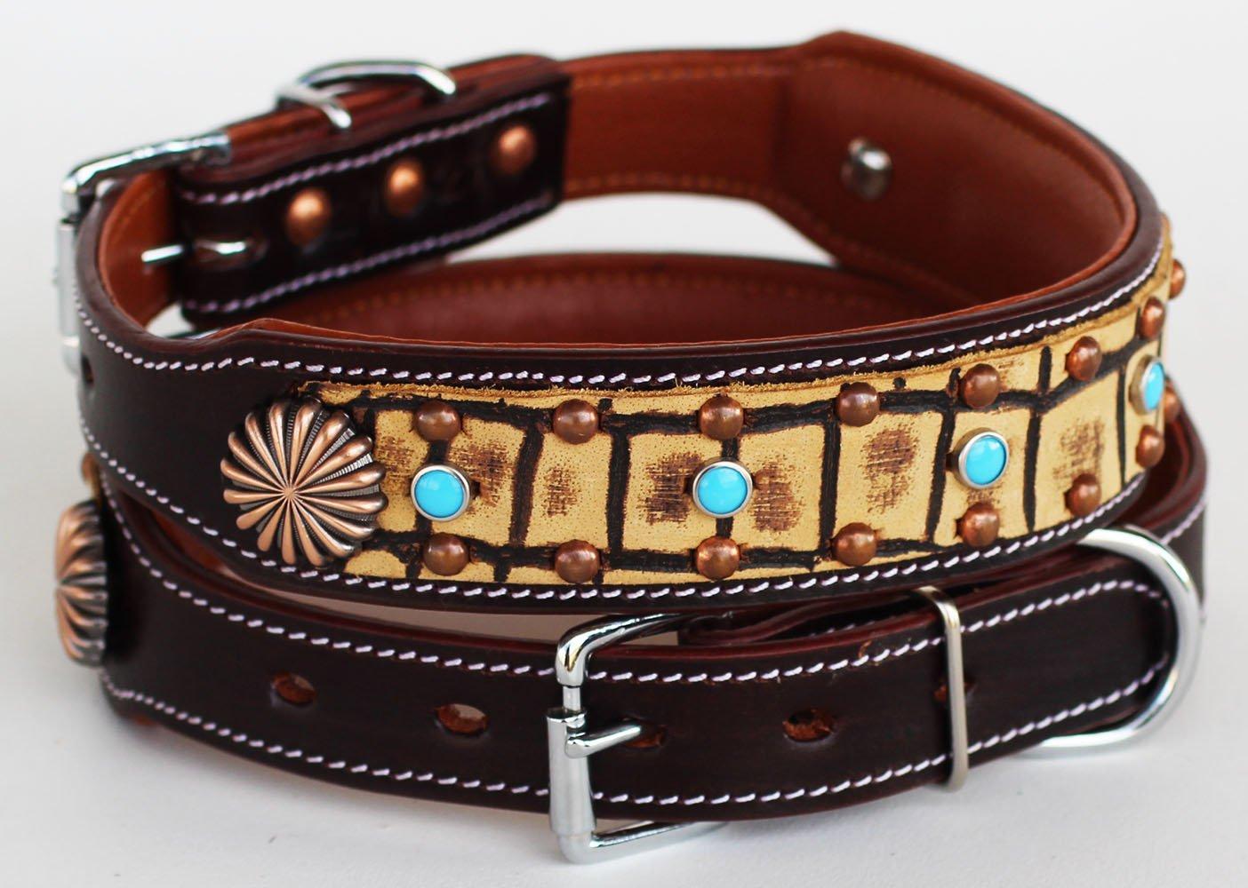 Large 21''- 25'' Rhinestone Dog Puppy Collar Crystal Cow Leather 6028ACO402
