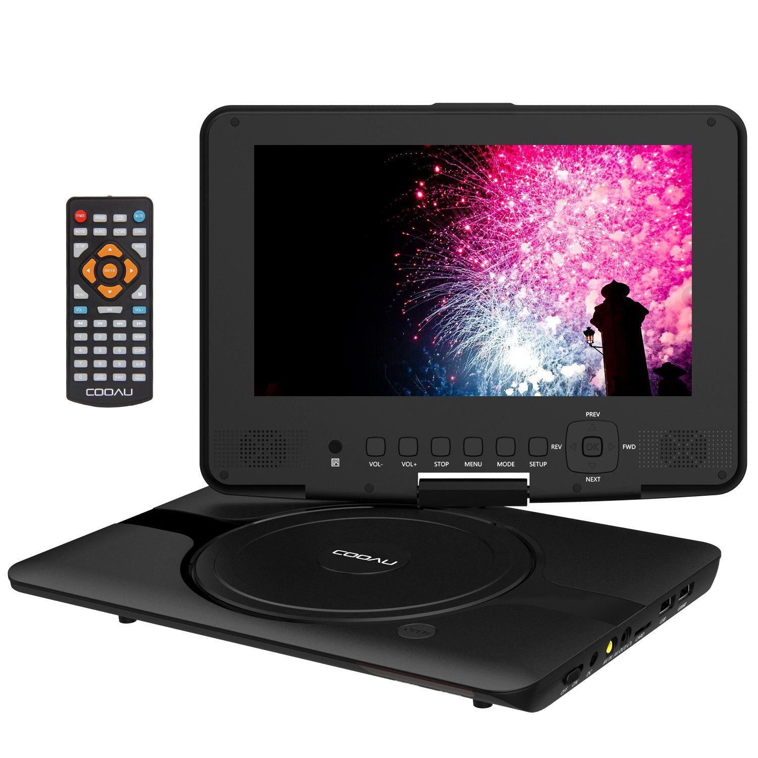 COOAU 12'' Kids Portable DVD Player with 9'' Swivel Screen, 5 Hours Rechargeable Battery, Remote Controller, Car Charger, Support TF Card/USB/Sync Screen/1080P Video Playback, Black