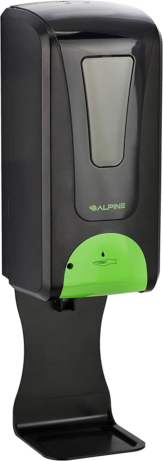 Alpine Industries Automatic Soap Dispenser - Touchless Hand Sanitizer Liquid/Gel Dispenser with Drip Tray - Ideal for Restaurant, Hospital, School, Hotel, Kitchen and Bathroom-1200mL Black