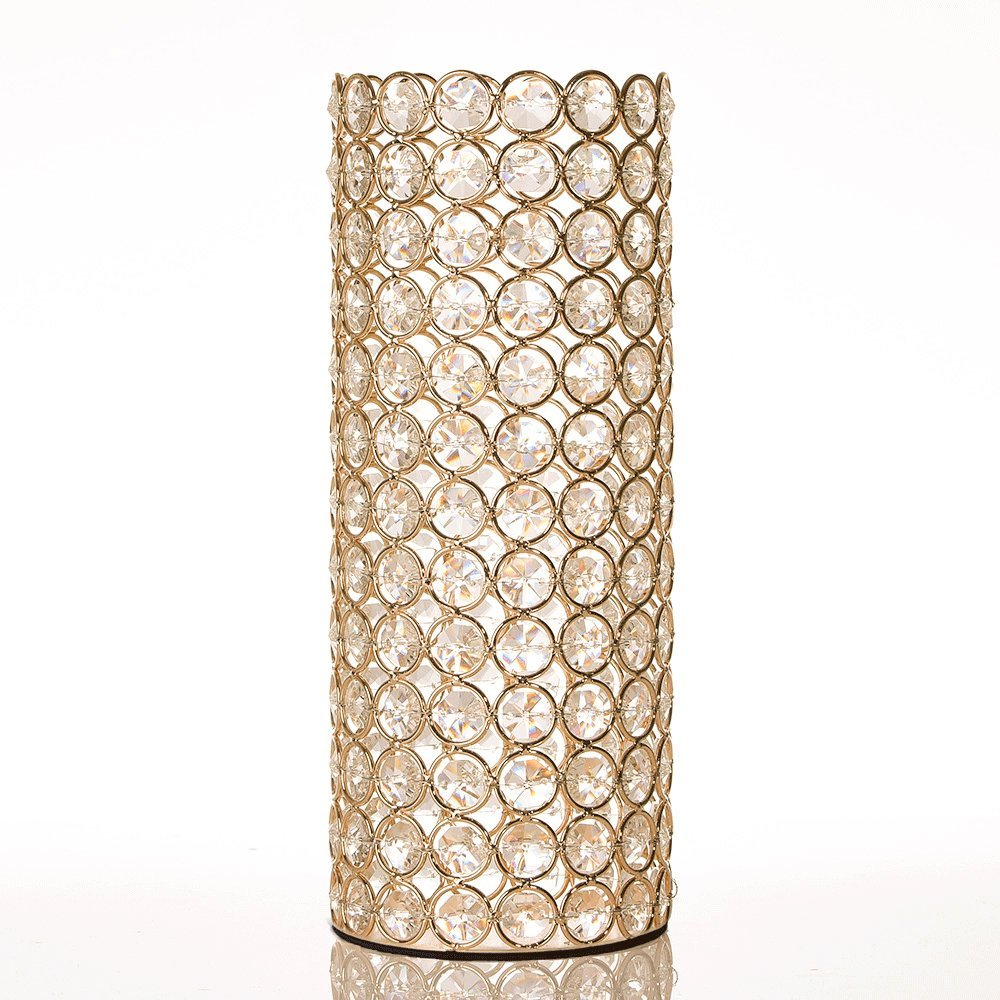 Tall Gold Crystal Cylinder Candleholder
