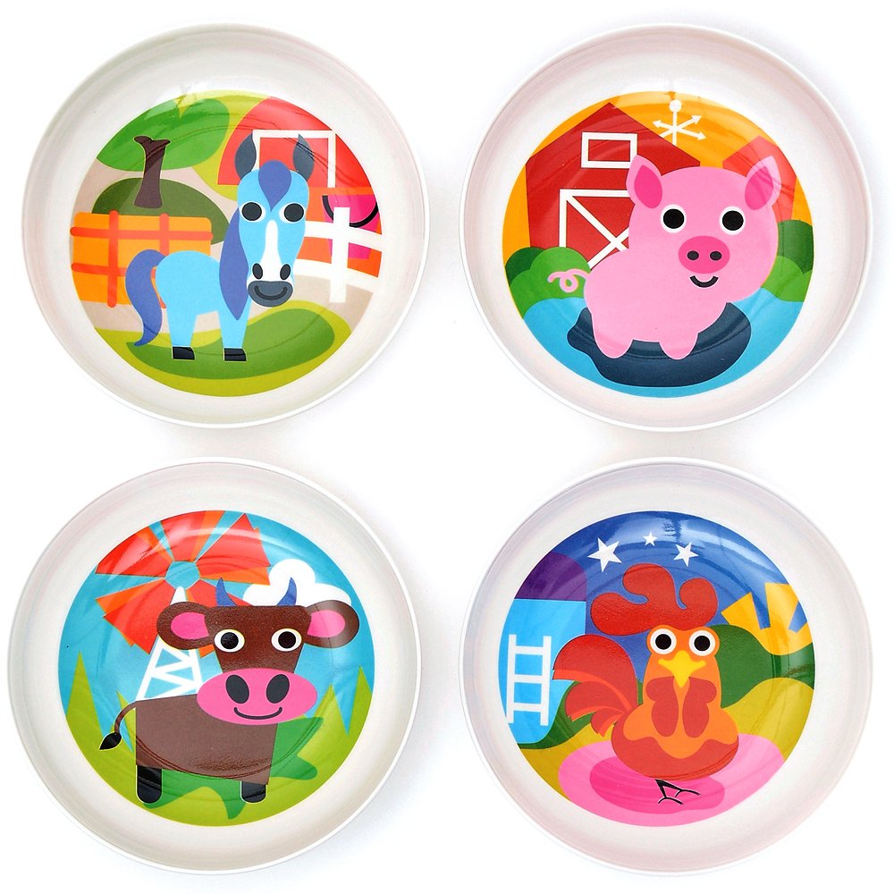 French Bull Kids Bowl Set of 4 - BPA-Free, Cereal, Animals, Toddler, Durable, Drop Resistant - Farm