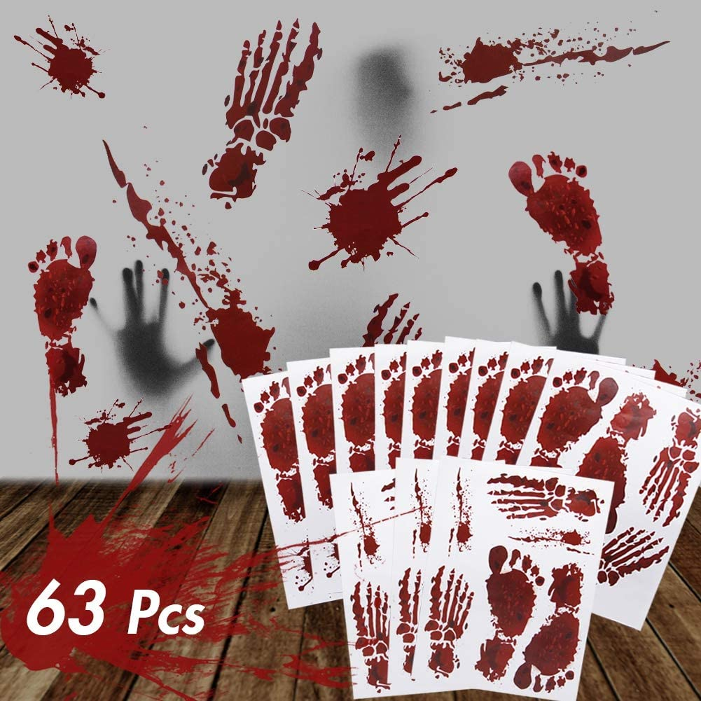 ATDAWN 63 PCS Bloody Footprints Floor Clings, Halloween Vampire Zombie Party Window Decals Wall Stickers Decor, Halloween Decorations Blood Splatter Stickers Supplies