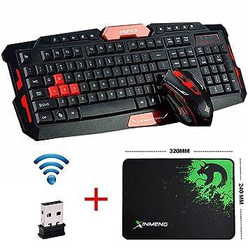 UrChoiceLtd® 2017 Cityform RK6100 Multimedia Ergonómico USB Gaming Teclado + 2,4 GHz 1000/1600dpi 6 Botones Gaming Ratón Inalámbrico USB para PC Portátiles ...