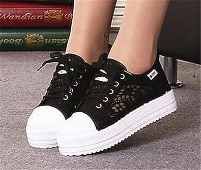 a8b900c0c704a Amazon.com   Feilongzaitianba Cutouts lace Canvas Shoes Hollow ...