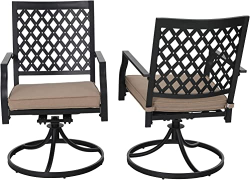 PHI VILLA Swivel Patio Chairs Set of 2 Outdoor Dining Rocker Chair Support 300 lb