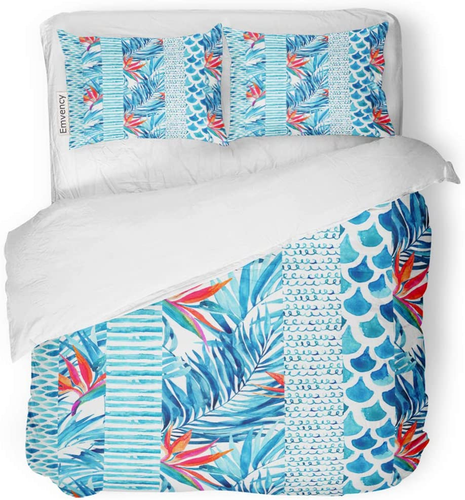 SanChic Duvet Cover Set Watercolor Striped Wave Stripe Squiggle Fish Scale Ornaments Decorative Bedding Set with 2 Pillow Cases Full/Queen Size
