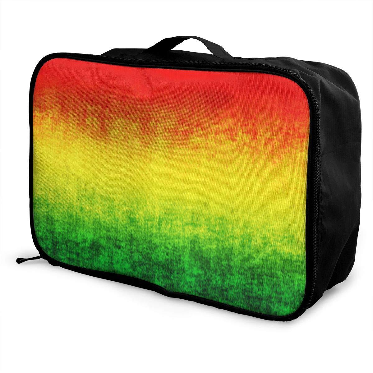 Large Feature Rasta Grunge Travel Duffel Bag Casual Large Capacity Portable Luggage Bag Suitcase Storage Bag Luggage Packing Tote Bag Weekend Trip