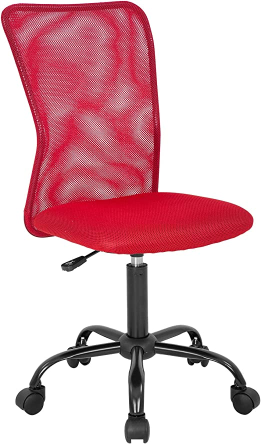 Amazon Com Home Office Chair Ergonomic Desk Chair Mesh Computer Chair With Lumbar Support Rolling Swivel Adjustable Mid Back Task Chair For Girls Red Furniture Decor
