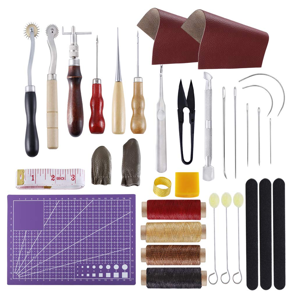 BUTUZE Versatile Leather Repair Purse Kit 34 PCS Leather Working Supplies,Leather Making Tool Kit with Awl,Waxed Thread,Groover, Wool Dauber,Simple Leather Kits for Beginner