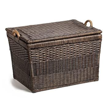 The Basket Lady Lift-off Lid Wicker Storage Basket, Large, Antique Walnut  Brown