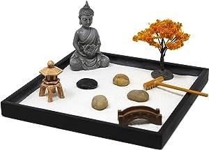 Nature's Mark, Mini Meditation Zen Garden Table Décor Kit with Accessories (9Lx9W Square A)