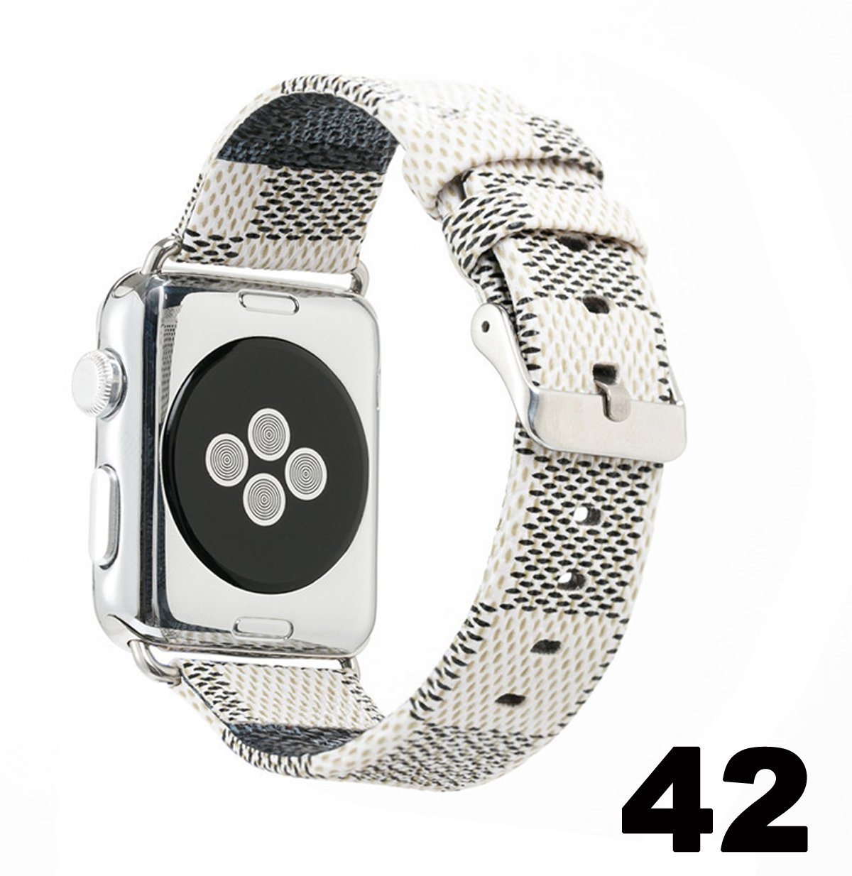 GOKE Compatible for Apple Watch Band 38mm 42mm PU Leather iWatch Strap,Sport Leisure Style iWatch Band Lattice,for Series 3 2 1 (White, 42mm)