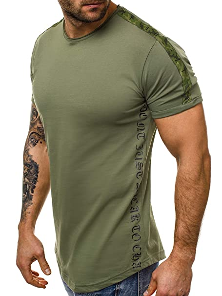 OZONEE Herren T-Shirt Kurzarm Shirt Aufdruck U-Neck Figurbetont Fitness O//1173