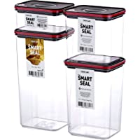 Neoflam Smart Seal 4pc Rectangular Extra Large Airtight Kitchen Pantry Canister/Organizer Clear Plastic Storage…