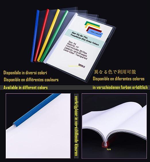 Lot de 20 TKD8040-blue-20x Transparent Chemise de Couvertures de Rapports TUKA-i-AKUT 20x A4 Dossier Coulissante Rapport Daffichage Couverture Organisateur Reliure Barre Coulissante Bleu