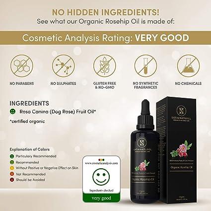 Aceite de Rosa Mosqueta Orgánico 100% Puro y Natural de Calidad Superior 50ml / Certificado Ecológico, Prensado en Frío/Rosa Mosqueta Nutritiva con Vitamina ...