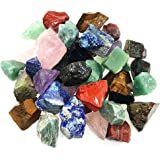 "UFEEL 3 lbs Bulk Rough Stone Mix - Large 1"" Natural Raw Crystals for Tumbling, Cabbing, Polishing, Wire Wrapping"