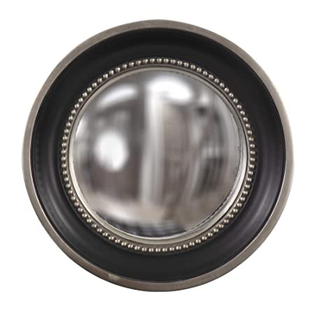 Howard Elliott Patterson Convex Round Hanging Accent Wall Mirror, Matte Black and Silver Leaf, 16 Inch