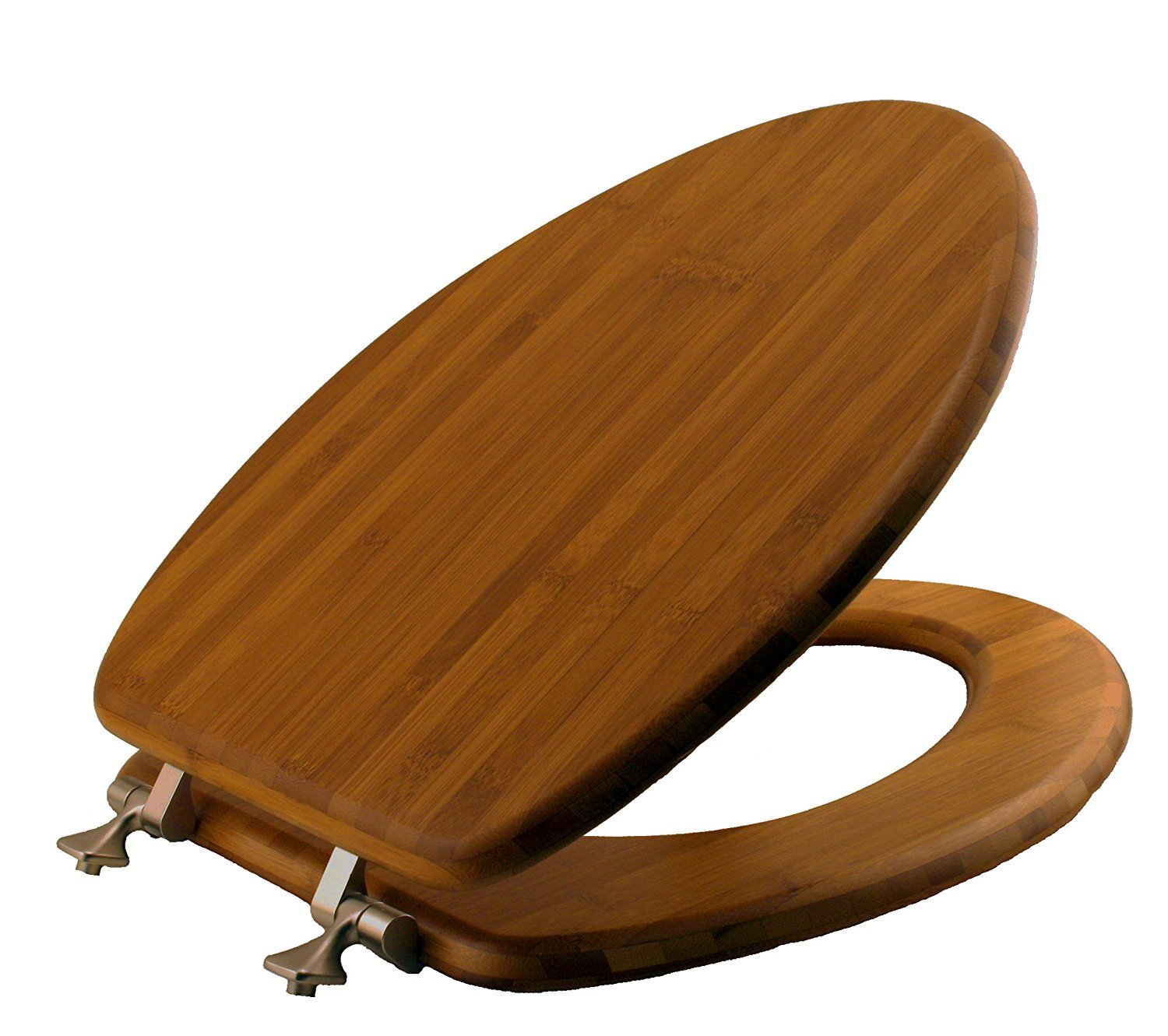 Mayfair Solid Bamboo Toilet Seat with Brushed Nickel Hinges, Elongated, Dark Bamboo, 19401NI 568