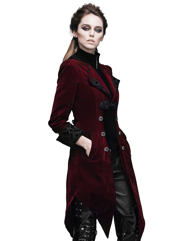Women's Burgundy Velvet Swallowtail Pirate Captain Coat - DeluxeAdultCostumes.com
