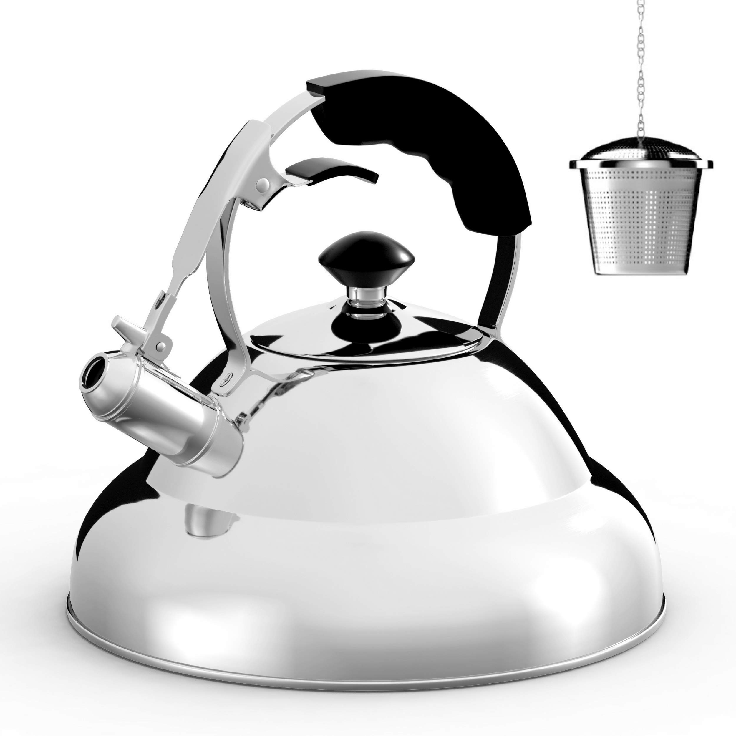 Tea Kettle - Stainless Steel Whistling Teapot with Capsule Bottom and Mirror Finish, 2.75 Quart Tea Pot - Stove Top Tea Maker Infuser Teapots Strainer Included (Single Handle) by Willow & Everett