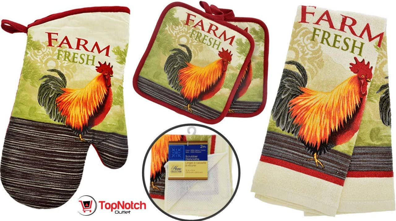 Rooster Kitchen Decor - Towel Linen Set (8 Pc) Farm Fresh Red