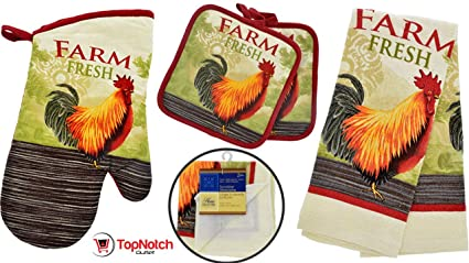 Rooster Kitchen Decor   Towel Linen Set (6 Pc) Farm Fresh Red Rooster Theme