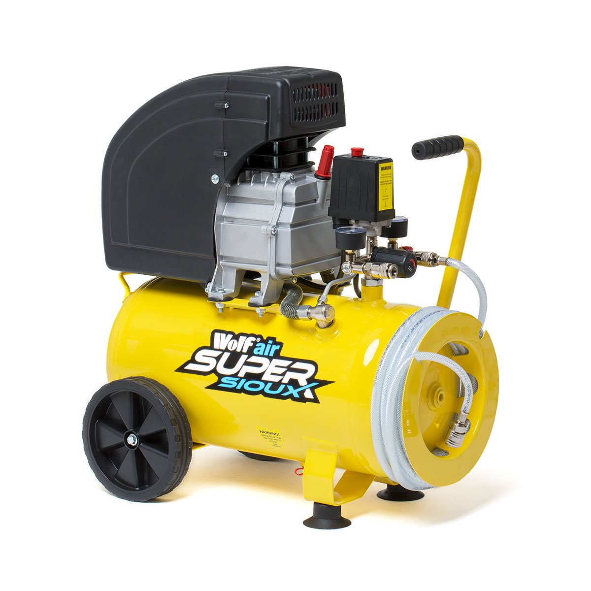 Wolf Air 24 Litre 9.6 CFM 10 BAR 150PSI 2.5HP 1800W 230V Super Sioux Air Compressor with Integrated Hose Reel - 2 Years Warranty
