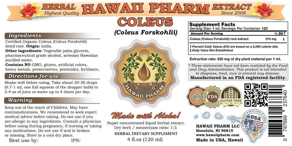 Coleus Liquid Extract, Coleus (Coleus Forskohlii) Root Tincture Supplement 4 oz by HawaiiPharm (Image #2)
