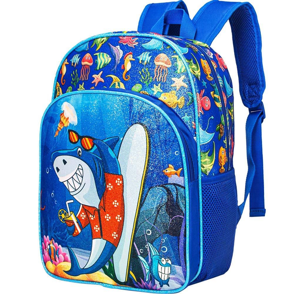 """Preschool Backpack, 14.5"""" Shark Backpack for Boys Glitter"""