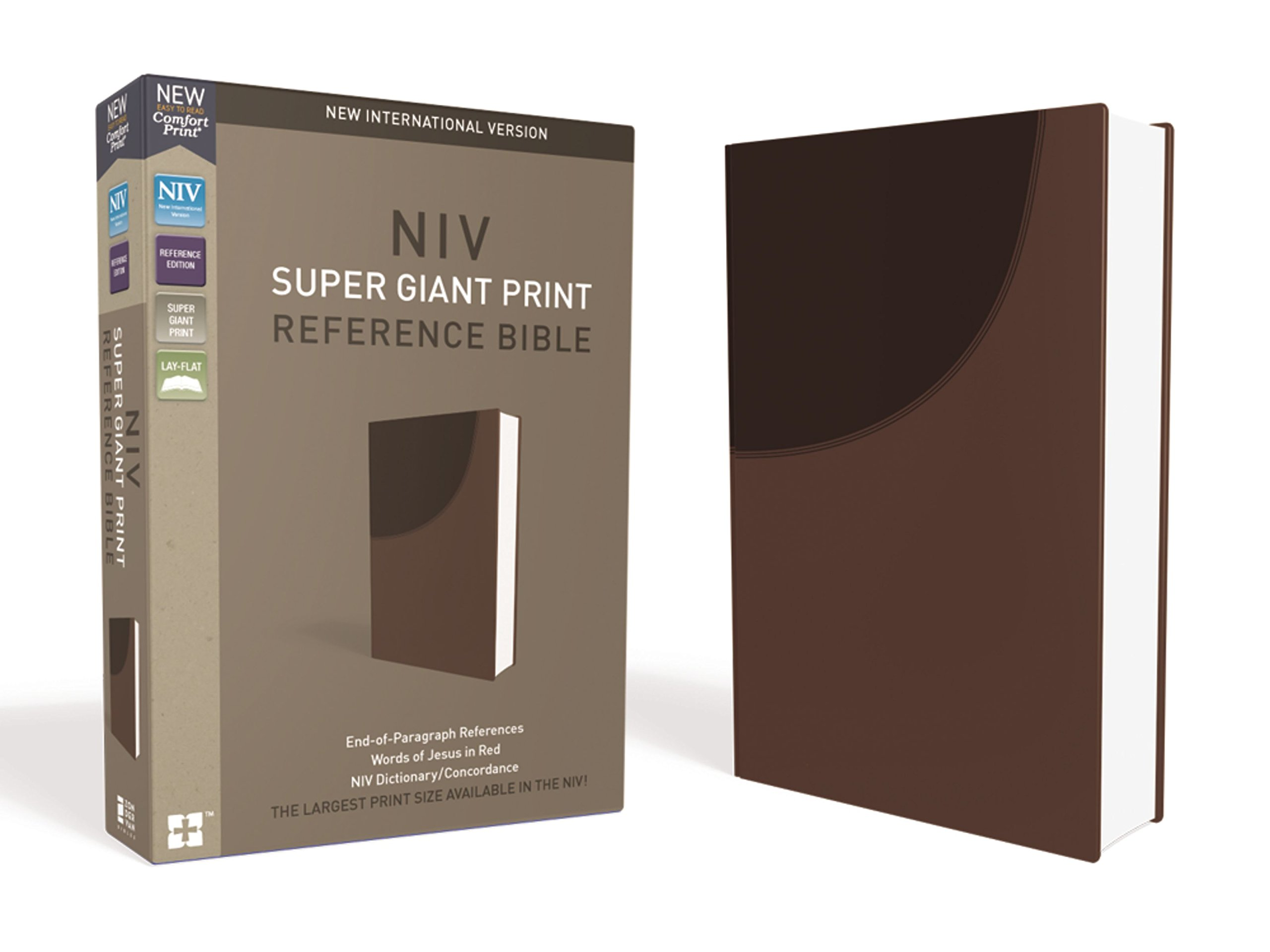 NIV, Super Giant Print Reference Bible, Leathersoft, Brown, Red Letter Edition, Comfort Print Imitation Leather – Large Print, Special Edition Zondervan 0310449375 Bibles TOPICAL / Christian Interest