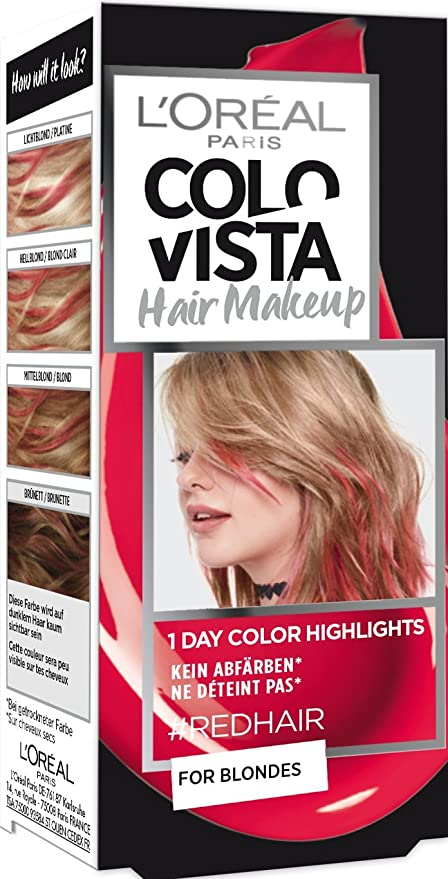 LOréal Paris Colovista - Maquillaje para el cabello, 1 capa, color rojo
