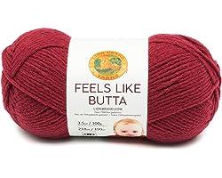 Lion Brand Yarn Feels Like Butta Yarn, Cranberry