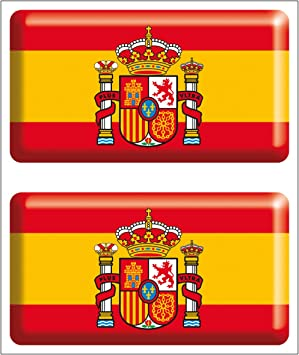 Artimagen Pegatina Bandera Rectángulo 2 uds. Escudo España Resina ...
