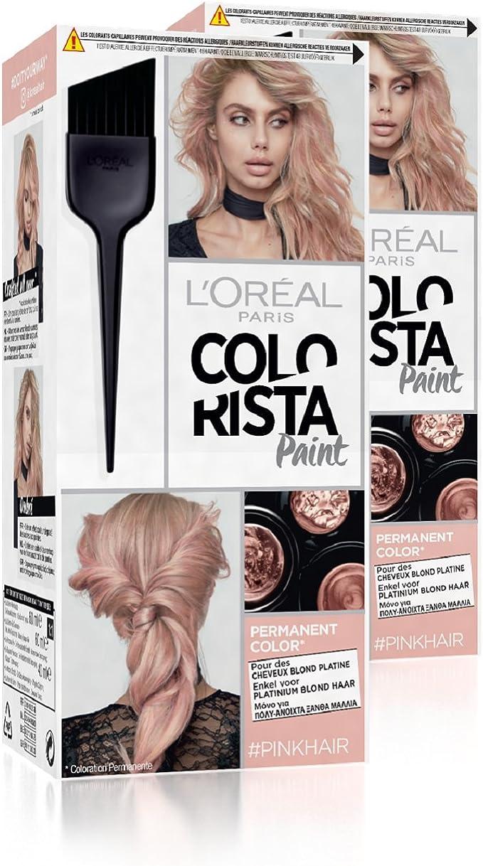 colorista L Oréal Paris Hair Paint Coloración Permanente 10.22 rosa – Lote de 2