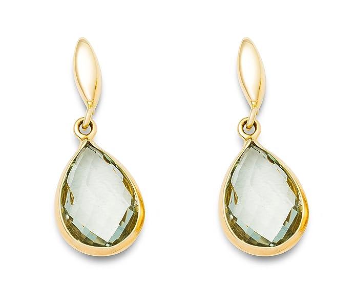 Miore Women's Green Amethyst Teardrop, 9 ct Yellow Gold Earrings - 2.4 cm