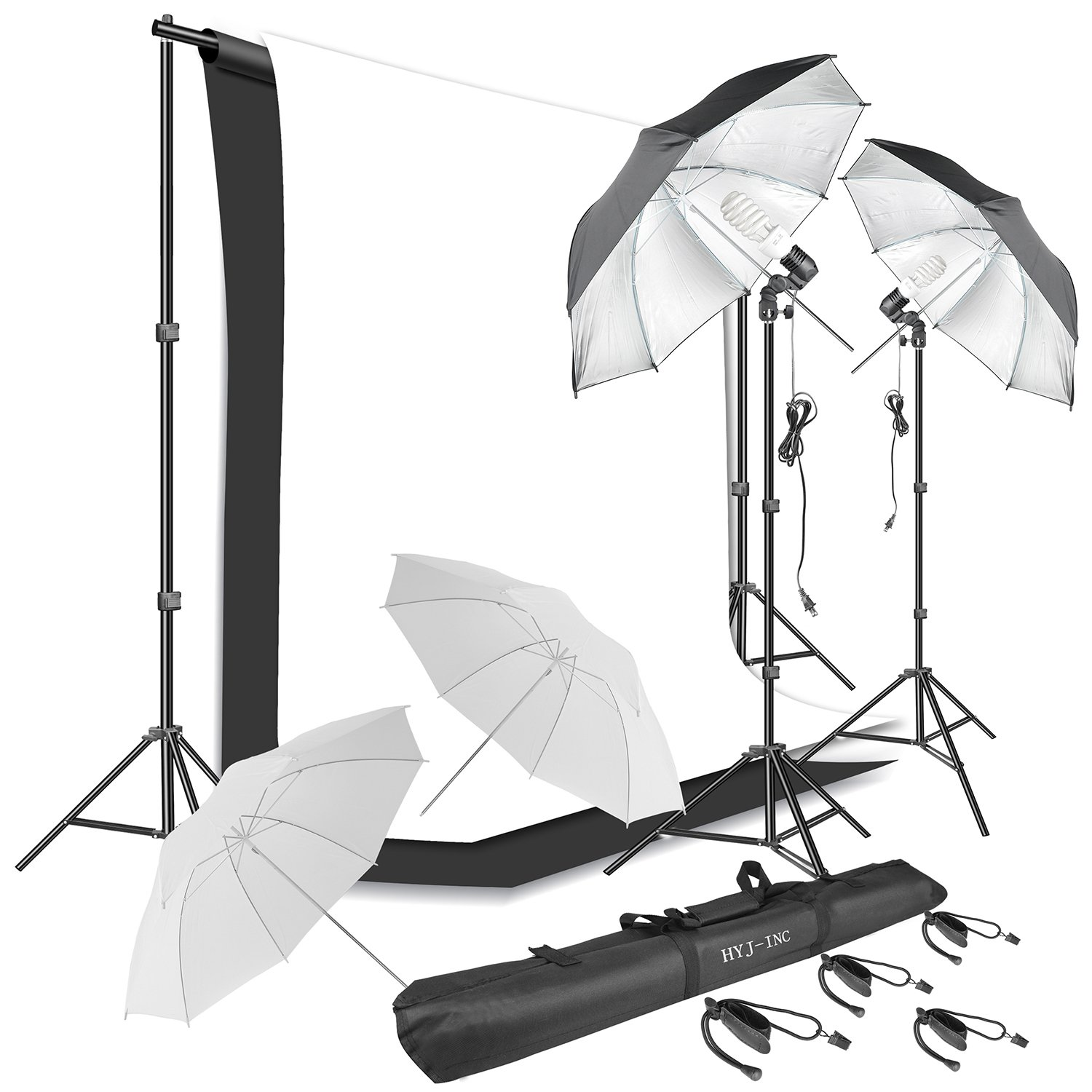 HYJ-INC Photography Umbrella Continuous Lighting Kit,Muslin Backdrop Kit(White Black), Backdrop Clips Clamp,10ft Photo Background Photography Stand System for Photo Video Studio Shooting by HYJ-INC