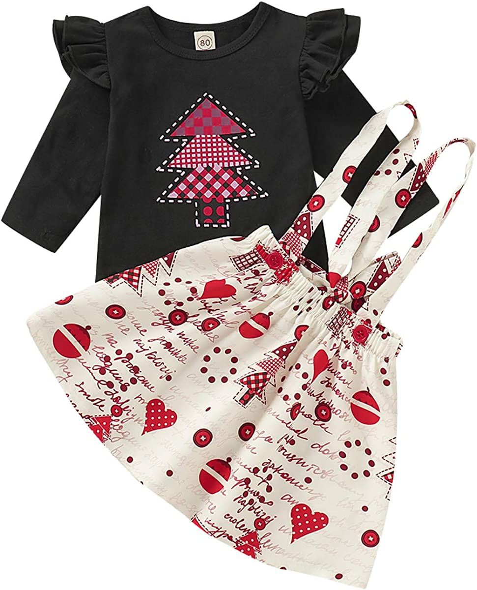 Thanksgiving Kids Toddler Baby Girls Dresses Outfit Ruffled Sleeve T-Shirt+Turkey Print Strap Skirt Fall Clothes Set