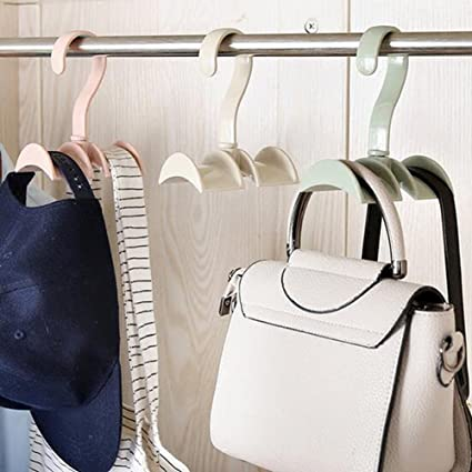 a285e9737850 Homieco™ Bag Storage Racks Rotatable Bag Hanger Wardrobe Hangers Strong  Necktie Belt Hooks Hand Bag Holder Plastic Hook