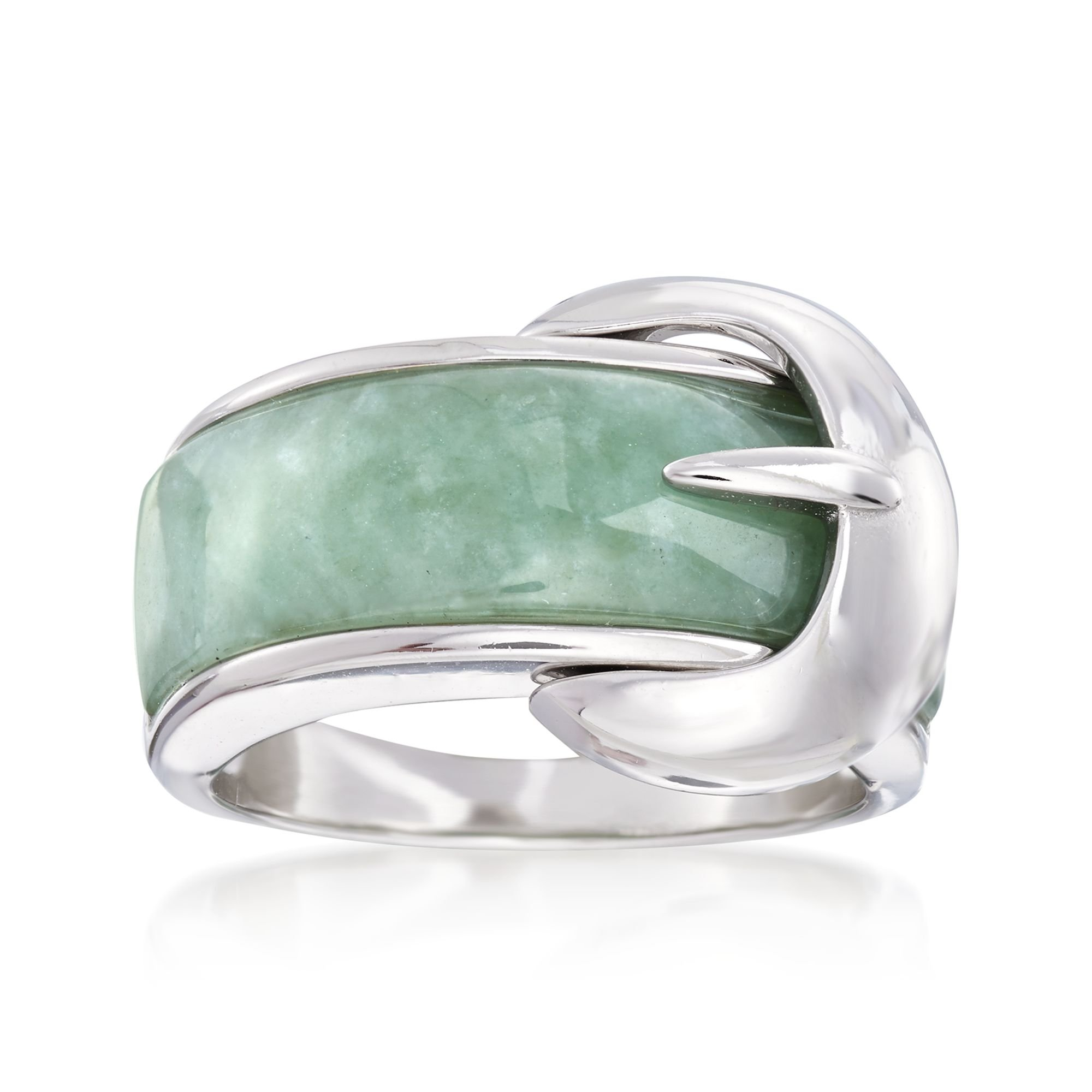 Ross-Simons Green Jade Buckle Ring in Sterling Silver