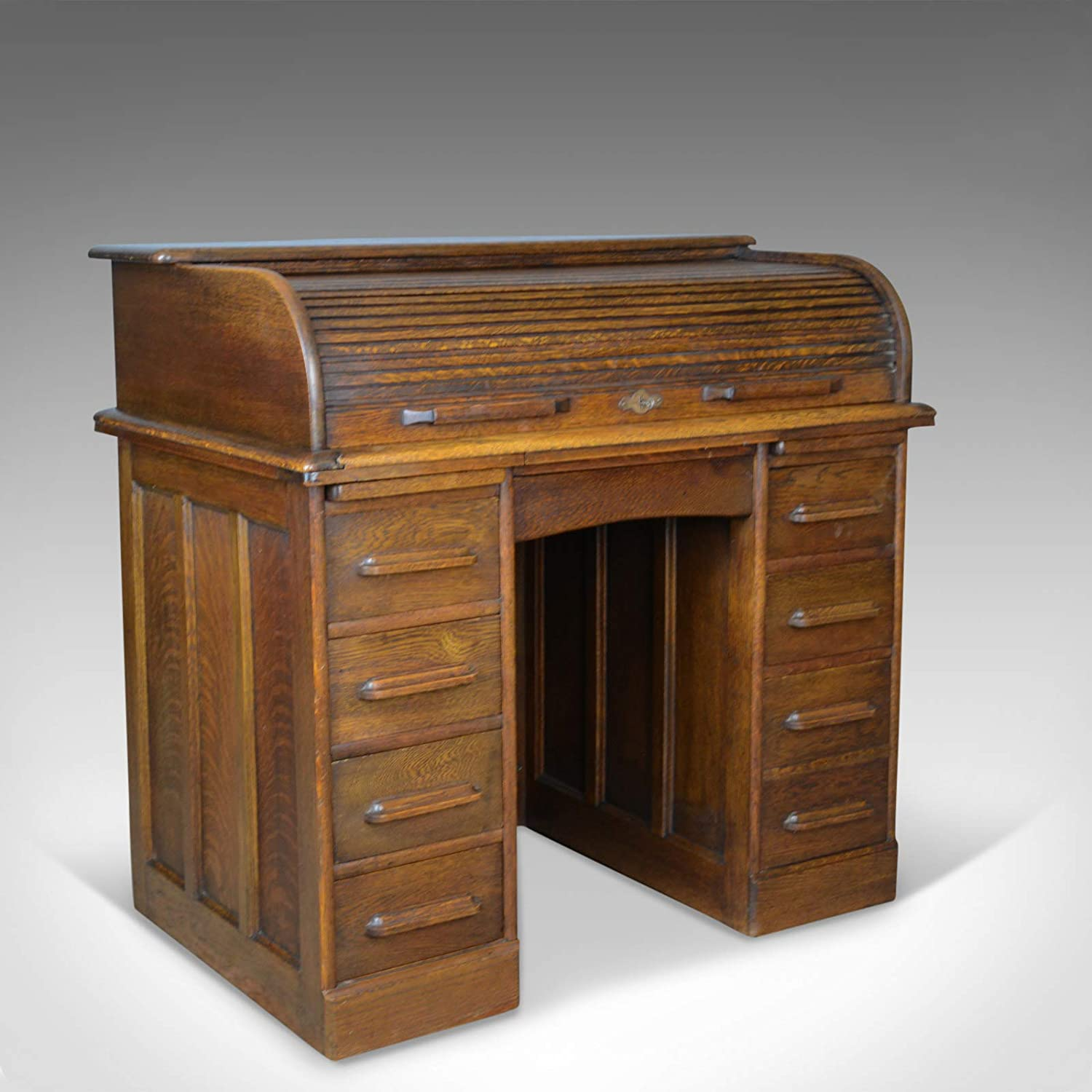 Small Antique Roll Top Desk Oak Tambour William Angus And Co